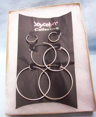 "JEWELRY: Fashionable Trio Sets Silver Color Metal Continuous Plain Hoop Earrings 1/2"", 1 1/2"", 2"" by Joycelyn Collection"