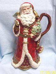 """CHRISTMAS DECORATION: Holiday Santa 14"""" Decorative Pitcher by Fitz and Floyd"""