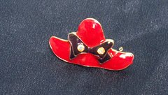 FASHION JEWELRY: Nice Red Hat Brooch Pin with Crystals by Joycelyn Collection