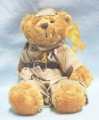 "Patriotic Collectible Plush Bear - ""Support our Troops"" on Yellow Ribbon Hang Tag"
