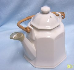 "TEAPOT: Ceramic White Tea Pot with Lid; Bamboo Handle Eight Sided 7"" Tall"