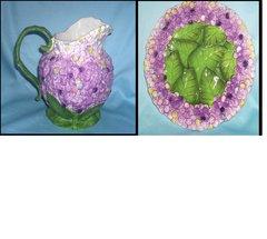 PITCHER & PLATE SET - Decorative Ceramic Pitcher & Plate Violet Design