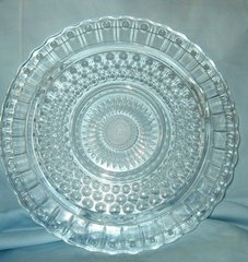 "CAKE PLATE - Vintage Round Footed Clear GLASS CAKE PLATE 11"" Diameter"
