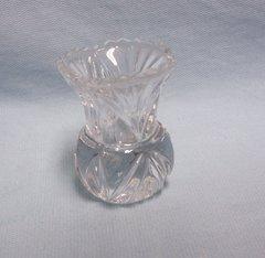 """TOOTHPICK HOLDER/MINI VASE: Vintage Cut Glass Toothpick Holder, Mini Bud Vase Fan Design 2 3/4"""" H"""