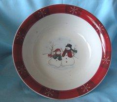 "VEGETABLE SERVING BOWL Snowman Stoneware Dish 10"" Diameter RN-3 ROYAL SEASONS"