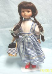 """DOLL: Collectible 14"""" Porcelain Doll Checkered Blue Dress Red Slippers & Black Dog"""
