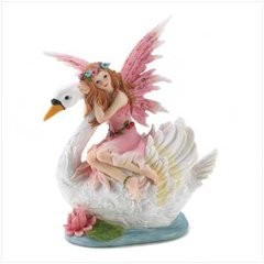 FAIRY FIGURINE - Unique Fairy on Swan Collectible Figurine & Bank Polyresin