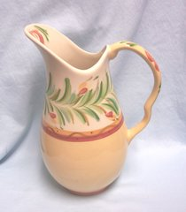 """PITCHER - Gail Pittman 80 oz. Pitcher Pattern Siena in Red/Yellow Squiggles 11 1/2"""" Tall"""