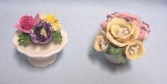 MINIATURE FLORAL ARRANGEMENTS: Pair Miniature Dainty Floral Figurines