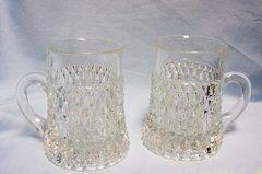 MUGS/GOBLETS: Heavy Cut Glass Mugs/Goblets with Criss Cross Diamond Pattern