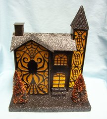 "HALLOWEEN DECOR: LED Light-Up Spider Paper, Sisal 11 7/8"" T Glitter House from Pier 1 Imports"