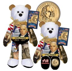 COIN BEAR Presidential Gold Dollar Plush Bear - #04 JAMES MADISON Limited Treasures