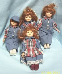 DOLLS: Collectible Porcelain Dolls Set of (4) Matching Outfits Red Hair Blue Eyes