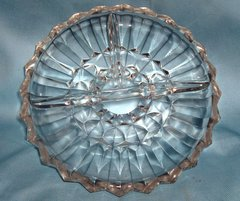 RELISH PLATE - Vintage Clear Glass Divided Appetizer Dish, Candy Dish