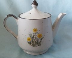 TEAPOT - Speckle, Tea Pot & Lid Japan Floral Brown Trim
