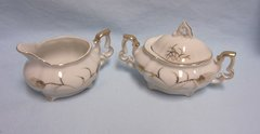 SUGAR BOWL, LID and CREAMER - Vintage Mini Lefton China Set Wheat Pattern