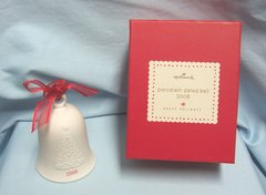 CHRISTMAS ORNAMENT: Hallmark Porcelain Dated Bell Ornament 2008. Happy Holiday Series