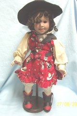"""DOLL: Collectible Porcelain 17"""" Doll Cowgirl Black Hair Brown Eyes with Wooden Stand"""