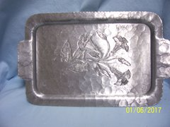 "TRAY: Vintage Aluminum Tray Serving Tray Wrought Farberware Hammered Floral 12 3/4"" L"