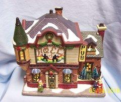CHRISTMAS VILLAGE BULIDING: Fiber Optic THE PUB Ceramic by Hofter's No. 6400