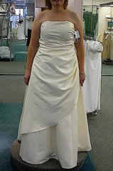 Wedding gown: Elegant Formal Gown A-Line Starpless w/ Asymmetric Skirt Size 18 Light Gold Satin