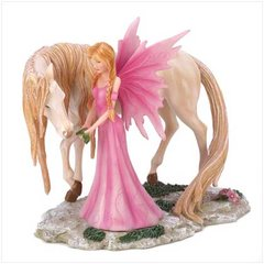 FAIRY FIGURINE - Pink Fairy & Unicorn Friend Fantasy Collectible Figurine Polyresin