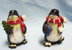 """FIGURINES: Pair Collectible Decorative Holiday Penguin Figurines 4 1/4"""" Tall Polyresin"""