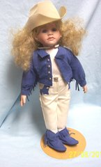 """DOLLS: Collectible Porcelain 16"""" Doll in Western Attire Blonde Hair Blue Eyes Metal Stand"""