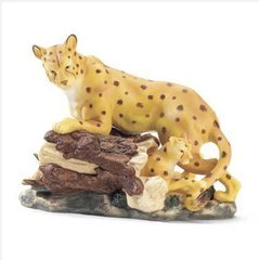LEOPARD ANIMAL FIGURINE Collectible Animal Wildlife Figurine Leopard and Cub Porcelain