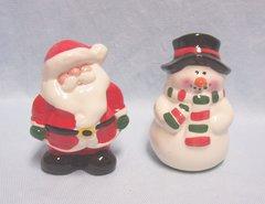 SALT & PEPPER SHAKERS: Cute Ceramic Christmas Salt & Pepper Shakers Santa (P) & Snowman (S)