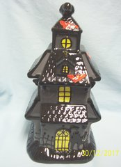 COOKIE JAR: Halloween Haunted House Cookie Jar Ceramic Halloween Decor