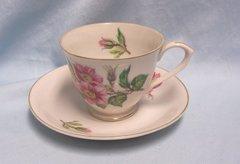 CUPS: Vintage Cup & Saucer Set Grantcrest Floral Pattern Gold Trim Japan