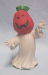 "HALLOWEEN: Pumpkin Head Ghost Figurine Ceramic 4 1/2"" tall"