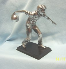 BOWLER FIGURINE: Collectible Bowler Figurine on Wooden-like Base. Alabastrite with realistic pewter finish