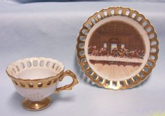 CUP & SAUCER SET: Beautiful 'THE LAST SUPPER' Cup and Saucer Set with Bold Gold Color Trim