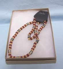 "JEWELRY: Brown Beaded Stretch 18"" Necklace & Bracelet - Joycelyn Collection with Gift Box"
