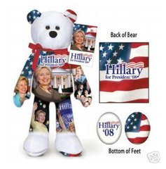 "HILLARY CLINTON - Plush Collectible 9"" Patriotic Teddybear - Limited Treasurers"