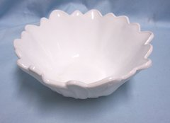 CANDY DISH/NUT BOWL: Unique Vintage Floral Shape White Candy Dish/Nut Bowl