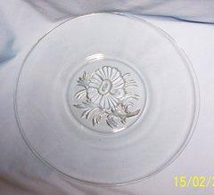 "SANDWICH PLATE - Vintage Jeannette Clear Glass 1`2"" Dia. Sandwich Plate - Camillia"