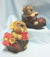 COLLECTIBLE ANIMAL FIGURINE - Set of (2) Collectible Relaxing Puppy Figurines