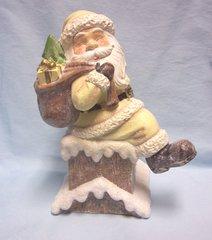 "SANTA FIGURINE: 10 1/2"" Holiday Santa in Chimney with Presents Figurine"