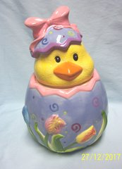 "COOKIE JAR: Chick Head (Lid) and Easter Egg (Base) Cookie Jar 11 3/4"" Tall by David's Cookies"