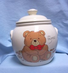 "COOKIE JAR: 1986 Collectible Porcelain Cookie Jar Teddy Bear by Treasure Craft 9"" Tall"