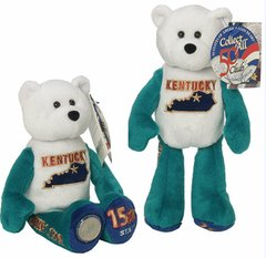 "COIN BEAR #15 KENTUCKY State Coin 9"" Collectible PLUSH BEAR - LIMITED TREASURES"