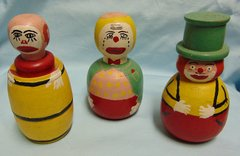 COLLECTIBLE CLOWN FIGURINES Set of (3) Vintage, Barrel Shape Painted CIRCUS CLOWNS
