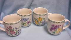 "CUPS/MUGS - Thomson Set of (4) Floral Garden Pottery China Cups 3 3/4"" Tall"
