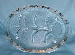"""SERVING PLATTER - Vintage 15"""" Glass Turkey Platter Inland Glass Footed Serving Platter"""