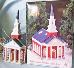 DICKENS CHRISTMAS VILLAGE CHURCH 1994 Collectables Ceramic Lighted CHURCH