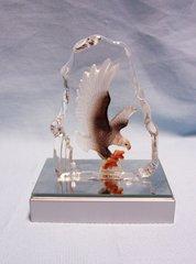 EAGLE FIGURINE: Crystal Bald Eagle Figurine Sculpture Mirror base LED lights w/Rainbow colors #39360