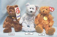 BEANIE BABIES: Ty Beanie Babies Collectible Bean Plush Bears; Champion, Flaky, Teddy